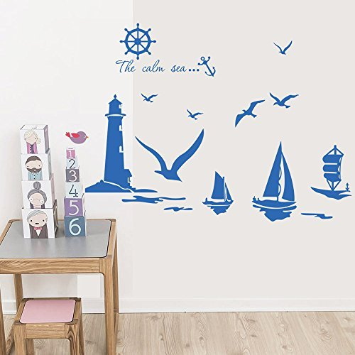 Price comparison product image Winhappyhome Lighthouse Seagull Sailboat Wall Stickers for Bedroom Living Room Background Home Decor Sticker Removable Mural Decals