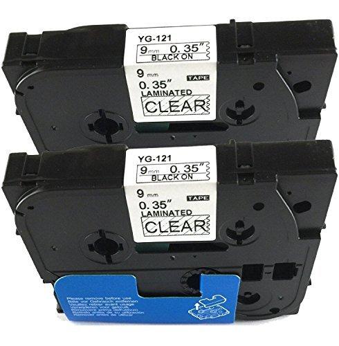 Neouza 2PK compatibile per Brother P-Touch Laminated TZe TZ Label tape Cartridge 9mm x 8m TZe-121 Black on Clear