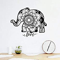 Fengdp Mandala Elefante Tatuajes de Arte de la Pared decoración para el hogar Animal Vinilo Elefante Etiqueta de la Pared Sala de Estar Mural de la Pared Arte calcomanía D 49 * 40 cm