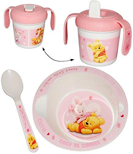 3-tlg-Geschirrset-Disney-Winnie-the-Pooh-rosa-pink-Trinklerntasse-Mslischale-Suppenschssel-Lffel-Kindergeschirr-Frhstcksset-Kunststoff-fr-Mdchen-Elerngeschirr-Elernbesteck-Puuh-Ferkel-Babygeschirr-Ele