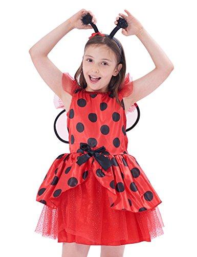 (IKALI Ladybug kostüm Kinder mädchen, Marienkäfer Tierischeskleid Ballerina Tutu Rock mit Flügel für Karneval Fasching)