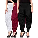 #6: Dhoti pants for womens -Culture the Dignity Women's Lycra Dhoti Patiala Salwar Harem Pants CTD_00WMB_1-WHITE-MAROON-BLACK-FREESIZE - Combo Pack of 3