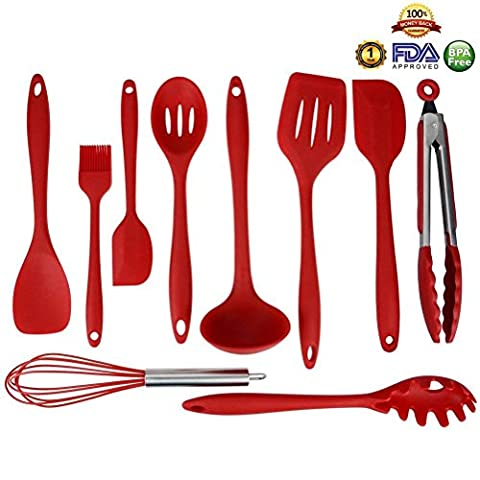 Silicone Cooking Utensils 10 Sets, High-Quality Heat-Resistant Non-Stick Easy To Clean Kitchen Baking Tools Cooking Set Kitchen Utensils Soup Spoon,Spatula,Whisk(Red) By