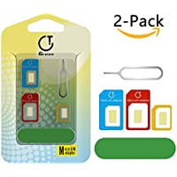 Sim Card Adapter,Gratein 2-Pack Multi-color Accurate 5in1 Nano Sim Card Adapter Kit Converter to Micro/Standard With Sander Bar and Tray Open Needle