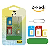 Gratein SIM Karten Adapter, 2 Stück Nano Micro Standard 5 in 1 SIM Karten Card Adapter Set Kit Konverter mit Polieren Blatt und öffnen Nadel - Farbe