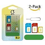 SIM Karten Adapter, Gratein 2 Stück Nano Micro Standard 5 in 1 SIM Karten Card Adapter Set Kit Konverter mit Polieren blatt und öffnen Nadel - Farbe