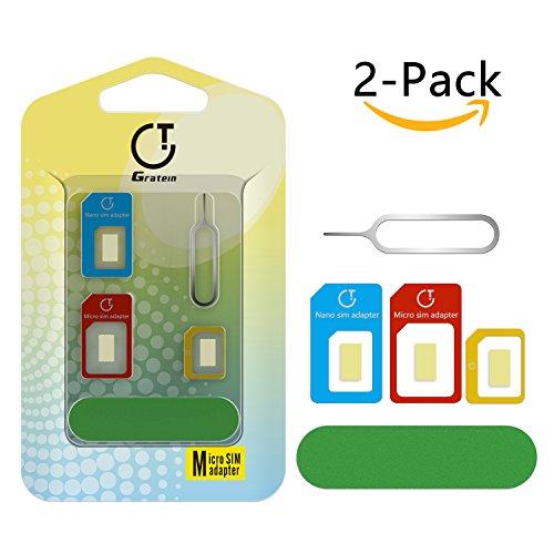 Adaptateur Carte SIM, Gratein 5 en 1 Nano Micro Carte SIM Converter Kit avec Outils de Polissage et Éjecter Aiguille - Multicolore (Lot de 2)