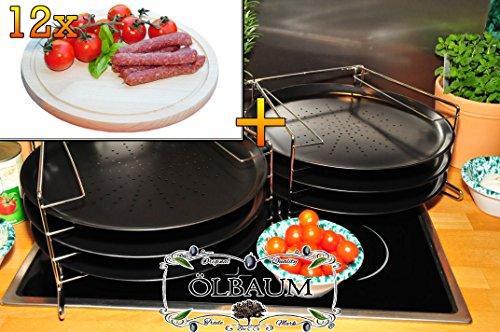 6 Stk. rundes Pizzablech mit gelochtem Boden + 2x 4 stufiger Edelstahl-Pizzablechhalter, TRADITIONELL, ca. 33 cm x 1 mm & 12 mal Hochwertiges, dickes ca. 16 mm Buche - SPÜLMASCHINENFEST '*' -Grill-Holzbrett mit Rillung natur, Maße rund ca. 25 cm Durchmesser als Bruschetta-Servierbrett, Brotzeitbretter, Steakteller schinkenbrett rustikal, Schinkenteller von BTV, Brotzeitteller Bayern, Wildbrett, Wildbret,