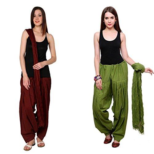 Bottomline Women's Cotton Patiala Salwars and Dupatta Set (Maroon & Dark Green)