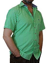 Trachtenhemd Mike kurzarm kariert mit Kontrasten Übergröße 4XL - 6XL