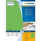 Herma 4259 Universal-Etiketten farbig (105 x 37 mm auf DIN A4 Papier matt) 1.600 Stück auf 100 Blatt, grün, bedruckbar, selbstklebend