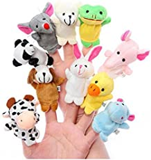 Animal Finger Puppet Soft Toys Puppet for Baby Boy and Girl Birthday Gift (Set of 10)