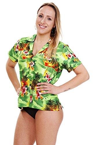 Funky Hawaiibluse, Pinke Blume, grün, (St Sexy Shirts Patricks Tag)