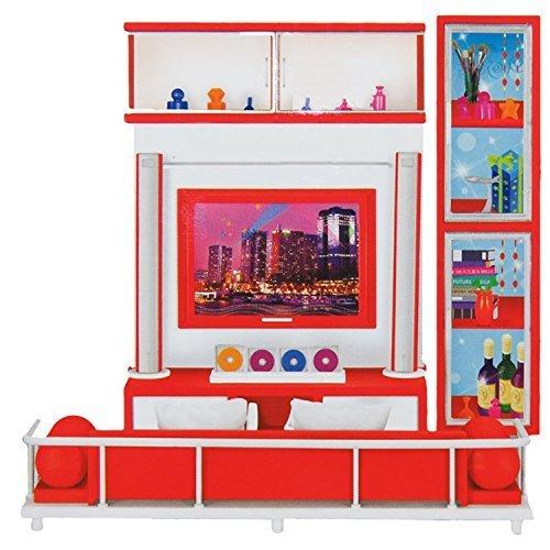 Ein Puppen-Wohnzimmer mit TV und Couch sowie Zubehör