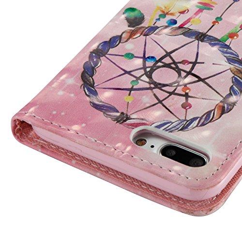 Cover iPhone 7 Plus, Custodia iPhone 8 Plus Pelle Brillantini, Surakey Elegante Flip Portafoglio Cover Custodia per iPhone 7 Plus / 8 Plus a Libro Con Strass Bling Glitter Antigraffio Protezione Poste Acchiappasogni Rosa