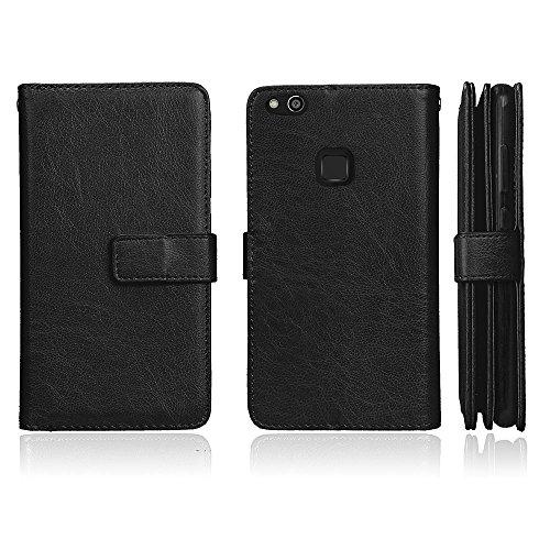 Huawei P10 Lite Hülle DENDICO Leder Handyhülle Schlanke Brieftasche Hülle für Huawei P10 Lite, Magnet Schutzhülle mit 9 Kartenfach - Schwarz -