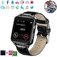 Smartwatch, Bluetooth Smart Watch Android Orologio Intelligente con Camera SIM TF Card Slot Facebook WhatsAPP Sport Watch Pedometro Wrist Watch Telefono Watch per Uomo Donna Bambini (7-Black)