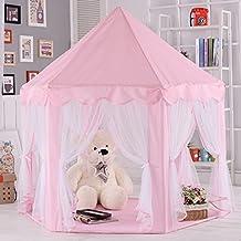 Los niños de interior y al aire libre de hadas hexagonal princesa castillo juego tienda, SevenD casa de hadas al aire libre para el niño (Rosa)