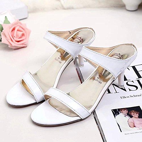 ZYUSHIZ Die High-Heel Schuhe mit Wild Die Fein mit Sandalen rutschhemmend Frau 34EU