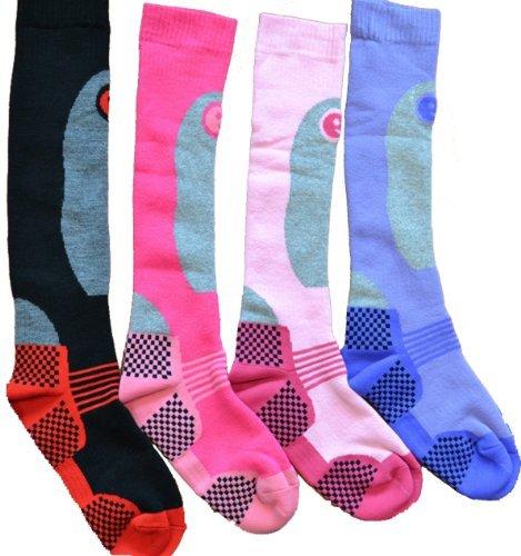 Ski Socks - 4 paires de Chaussettes de ski longues et thermiques haute performance - Femme - Taille 37 - 40