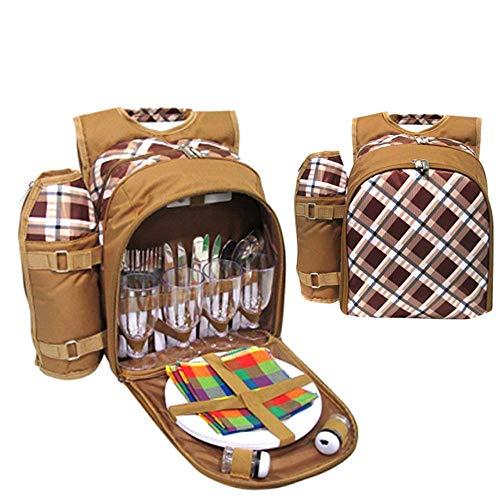 Mochilas de picnic Mochila de picnic para 4 personas Bolsa mochila fresca de 29 piezas Incluye cubertería, platos, servilletas, copas de vino, abrebotellas Adecuado para Camping Senderismo Picnic