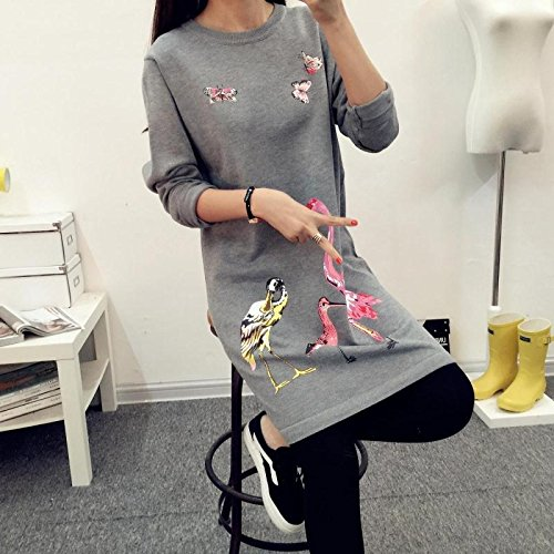 Hrph Mode Hiver Femme Robe Pull Tricots Flamingo Print O-Cou Long Pull Overs Gris