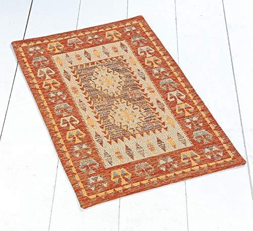 By suardi - tappeto arredo kilim in ciniglia cm 85x150 made in italy arancio