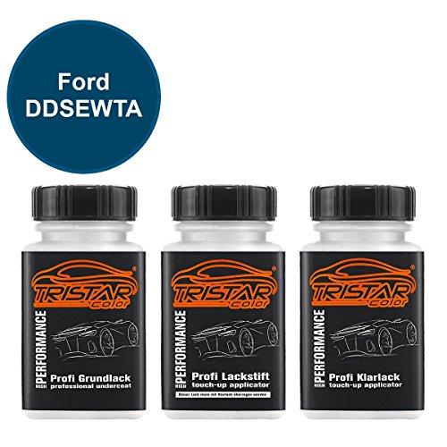 Preisvergleich Produktbild TRISTARcolor Autolack Lackstift Set Ford DDSEWTA Blue Candy Metallic/Aruba Blau Metallic Grundlack Basislack Klarlack je 50ml