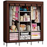 Nayka Multipurpose Fancy And Portable Foldable Closet Wardrobe Cabinet With Shelves 3.5 Feet (Brown); Wardrobe For Bedroom; Portable Wardrobe Stainless Steel Cloth Closet Organizer Storage With Cover And Clothes Rods Durable Sturdy Shelves (Maroon); Wardr