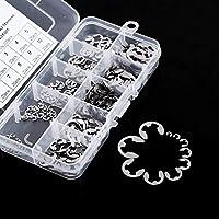 E-Clip Kit acero inoxidable, 120pcs retención Snap anillo Anillo elástico Surtido 1,5A 10mm con caja de almacenamiento