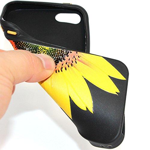 Hülle für iPhone SE 5 5S 5G, Schwarz Silikon Schutzhülle für iPhone SE 5 5S 5G Case TPU Bumper Handyhülle, Cozy Hut ® [Thin Fit] [Schock Absorption] Soft Flex Silikon Schlanke Hülle [Schwarz] Premium  Halbe Sonnenblume