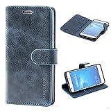 MULBESS Vintage Style Étui Housse en Cuir Premium Flip Case Portefeuille de Protection Etui Coque pour Huawei Honor 5C,Navy Bleu