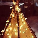 QUMAO - (10Metri, 100xLED) Catena Luminosa, Luci di Bianco Caldo, EU Spina, 8 Stili di Illuminazione, Decorazione per Festa, Casa, Giardino, Ristorante, Bar, ecc