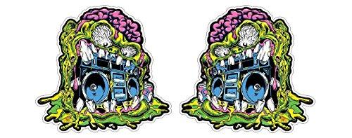 Monster Ghetto Blaster Boombox Skateboard Surfboard Snowboard Skater Basejumper Aufkleber Sticker + Gratis Schlüsselringanhänger aus Kokosnuss-Schale + Auto Motorrad Laptop Racing Tuning Motorsport (Monster Snowboard Aufkleber)