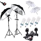 Un Maosen professionnel 4x85w 5500k Daylight Ampoules Photographie Equipmenten studio Light ,Four Light Sockets, 2 X 32 'Soft Parapluies, 2 X 32' Sliver Parapluies, continue Kit d'éclairage pour Kit Portrait Photographie,Photo & Video Studio