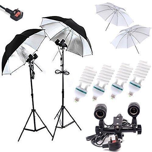 Ein Maosen Professionelle 4x85w 5500k Tageslichtlampen Studio Light Equipment, vier Lichtsockel, 2 X 32 'Soft Regenschirme, 2 X 32' Sliver Regenschirme, Dauerlicht Kit für die Portraitfotografie, Photo & Video Studio Kit