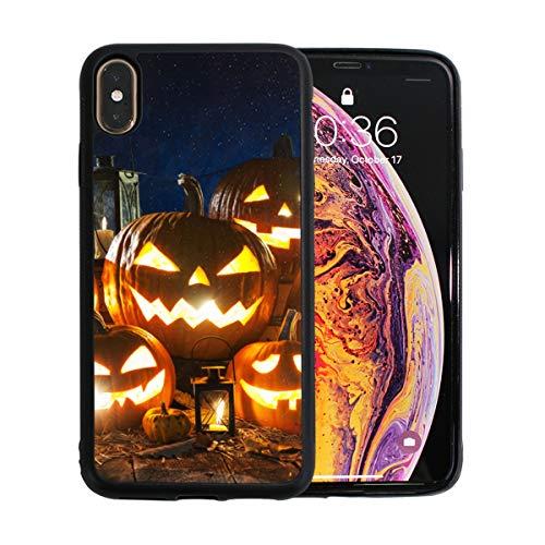 WYYWCY Halloween-Kürbis mit brennenden Kerzen Apple-Telefon Xs Max Case Screen Protector TPU Hard Cover mit dünnem stoßfestem Stoßfänger Schutzhülle für Apple Phone Xs Max 6,5 ()