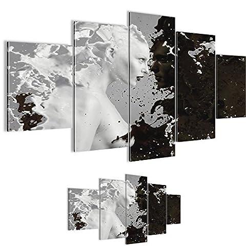 Bilder 200 x 100 cm - Milk & Coffee Bild - Vlies Leinwand - Kunstdrucke -Wandbild - XXL Format – mehrere Farben und Größen im Shop - Fertig Aufgespannt !!! 100% MADE IN GERMANY !!! - Figuren – Paar – Liebe 301851a