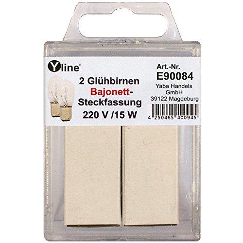 2 Stck.Glühbirnen Steckfassung / Bajonettfassung für Nähmaschine 220V 15W, E90084