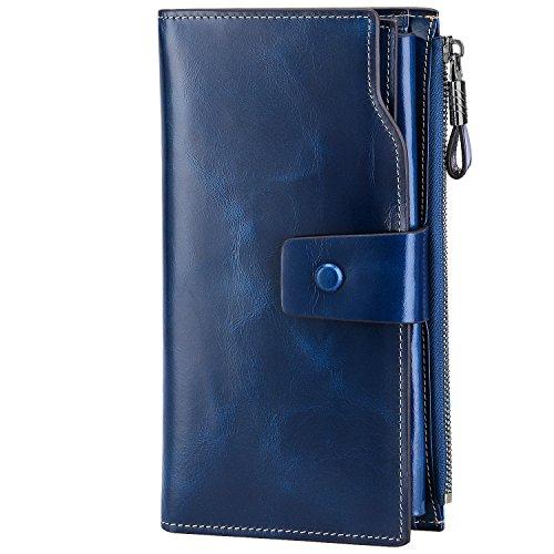 S-ZONE Damen groß Kapazität Luxus echtes Leder Geldbörsen mit Reißverschluss-Tasche (Blau) -