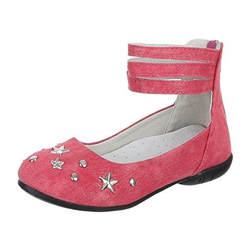 Chaussures pour enfants, tr0112, Ballerines Chaussures basses avec rivets décoratifs Rose - Rosa Rot
