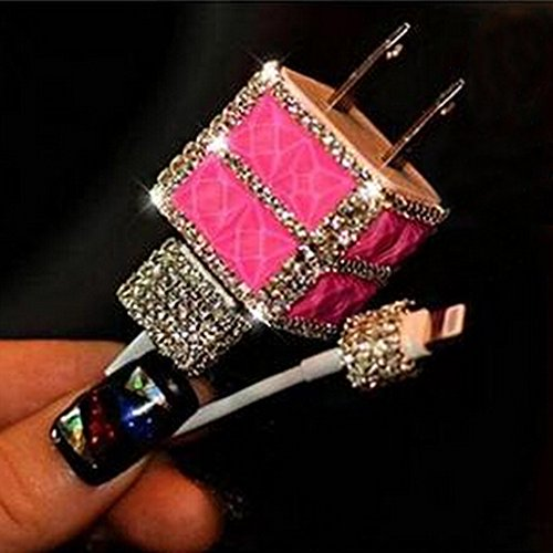 evtechtm-usb-wall-charger-3d-bling-rhinestone-crystal-glitter-phone-charger-plug-rose