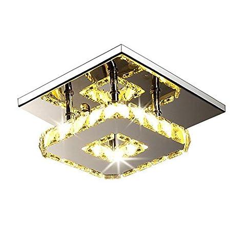 12W LED Deckenleuchte Modern Flush Mount Kristall Deckenleuchte Fassung, Edelstahl Kronleuchter Deckenleuchten für Flur, Gang, Veranda, Schlafzimmer (warmes Licht)