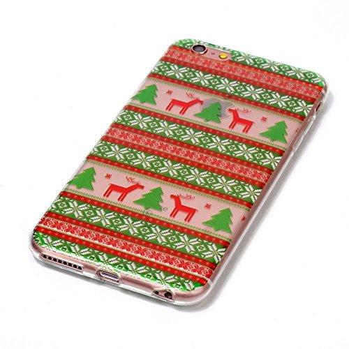 Coque iPhone 6s Transparente Noël Motif Silicone Souple Etui pour Apple iPhone 6 / iPhone 6s Housse Bumper Couverture Cas Soft TPU Ultra Slim Mince Léger Antichoc Anti Rayure Case Cover, Père Noël Tribu Deer