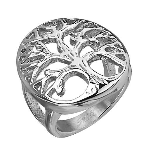 Paula & Fritz Siegelring Baum des Lebens Silber Freundschafts-Ring Damen-Ring Verlobungs-Ring Herrenring Partnerring Edelstahl Chirurgenstahl 316L R-M6680S_70