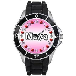 Name Maya Black Jelly Silicone Band Ladies Sports Wrist Watch