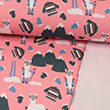 Sweatshirt Stoff Winterlama rosa - Preis Gilt für 0,5