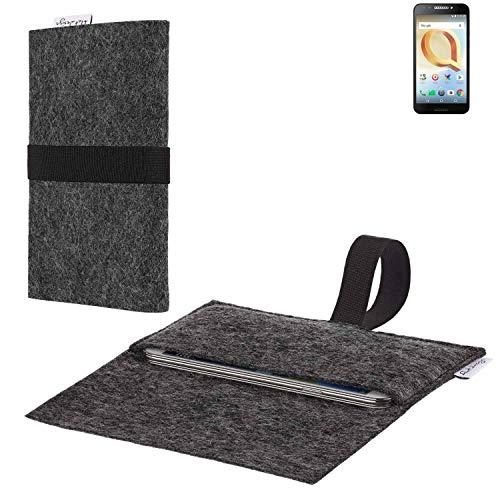 flat.design vegane Handy Hülle Aveiro für Alcatel A30 Plus passgenaue Filz Tasche Case Sleeve Made in Germany