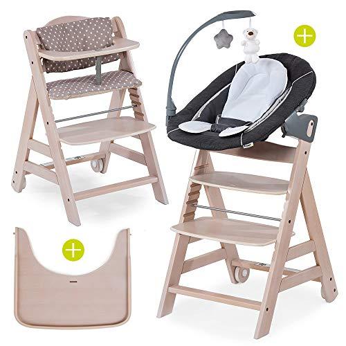Hauck Beta Plus Newborn Set Deluxe - Baby Holz Hochstuhl ab Geburt mit Liegefunktion - inkl. Aufsatz für Neugeborene, Sitzpolster, Tisch - mitwachsend, verstellbar - Whitewashed