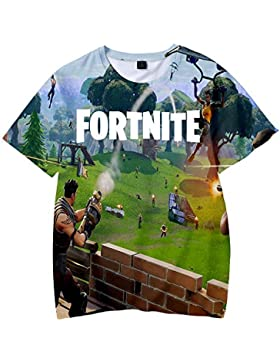 Unisex Camiseta Fortnite Estampado Tops Fortnite Game Scene T-Shirt Sudaderas de Sport Manga Corta Blusa Camisetas...